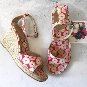 J.crew floral ankle strap wedge